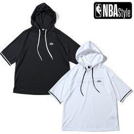 【NBA Style 2021 SS】 Los Angeles Lakers ショートスリーブ メッシュフーディー / ロサンゼルス・レイカーズ / ブラック ホワイト