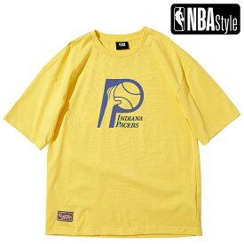 【NBA Style 2021 SS】 Hardwood Classics Indiana Pacers ビッグロゴ ルーズフィットTシャツ / インディアナ・ペイサーズ