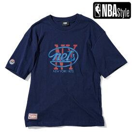 【NBA Style 2021 SS】 Hardwood Classics Brooklyn Nets レタリングロゴ ルーズフィットTシャツ