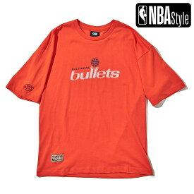 【NBA Style 2021 SS】 Hardwood Classics Washington Bullets (Wizards) レタリングロゴ ルーズフィットTシャツ / ワシントン・ウィザーズ