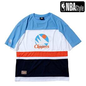 【NBA Style 2021 SS】 Hardwood Classics Los Angeles Clippers カラーブロックド メッシュオーバーサイズTシャツ / ロサンゼルス・クリッパーズ