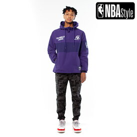 【NBA Style 2020 A/W】Los Angeles Lakers Color Blocked アノラックフーディー(パーカー) / ロサンゼルス・レイカーズ /