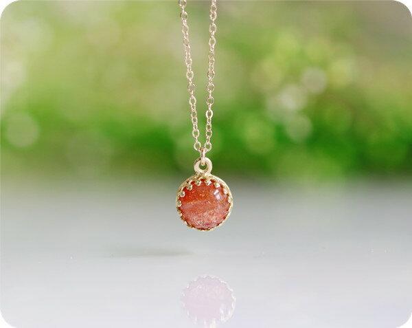 宝石質 サンストーンのベゼルネックレス 14KGF パワーストーン ハンドメイド オーダー可 天然石 RALULU.SHU