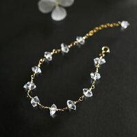 RALULU.SHUハンドメイド14KGFゴールドフィルド最上級ハーキマーダイヤモンドブレスレット4月の誕生石