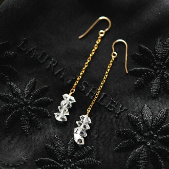 "See RLL. S ""handmade 14 kgf Goldfield superlative Herkimer diamond quartz crystal < snow > earrings / non Hall pierced earrings-friendly"