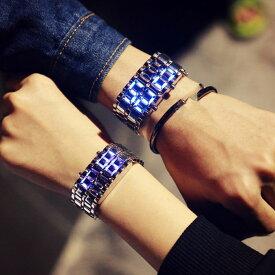 腕時計【訳あり】ベルト一体式LED 腕時計 マグマ腕時計 LED デジタルの腕時計 軽量合金 溶岩ledファッションウォッチ男女兼用 LED とけい ウォッチ 腕時計 レディース メンズ 腕時計