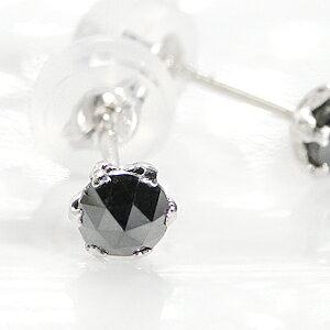 K18WG ホワイトゴールド ブラックダイヤモンドピアス両耳トータル 0.40ct(0.20ctx2)AAA ローズカット シリコンダブルロックキャッチ