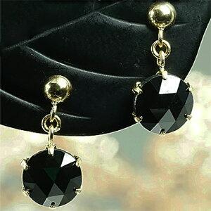 K18 ブラックダイヤモンドピアス(ブラタイプ)両耳ペアー 1カラット AAAローズカット ブラックダイヤ 1ct(0.50ctx2)シリコンダブルロックキャッチ付 レディースジュエリー 4月誕生石