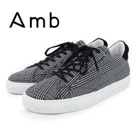【AMB エーエムビー】グレンチェックテキスタイル ローカットスニーカー(9838F WINDTEX2) グレー×ブラック メンズシューズ 紳士靴