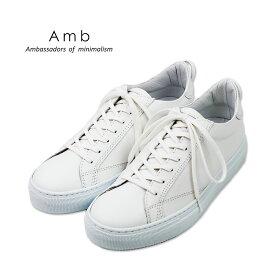 ポイント10倍【AMB エーエムビー】レザー ローカットスニーカー(9838 archy) ホワイト メンズシューズ 革靴 紳士靴