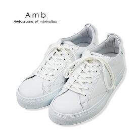 ポイント5倍【AMB エーエムビー】レザー ローカットスニーカー(9838L kips) ホワイト 白 レディースシューズ 革靴