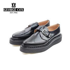 ポイント10倍【George Cox ジョージコックス】モンクストラップシューズ 13123 BLACK ラバーソール メンズシューズ 革靴 カジュアル 紳士靴