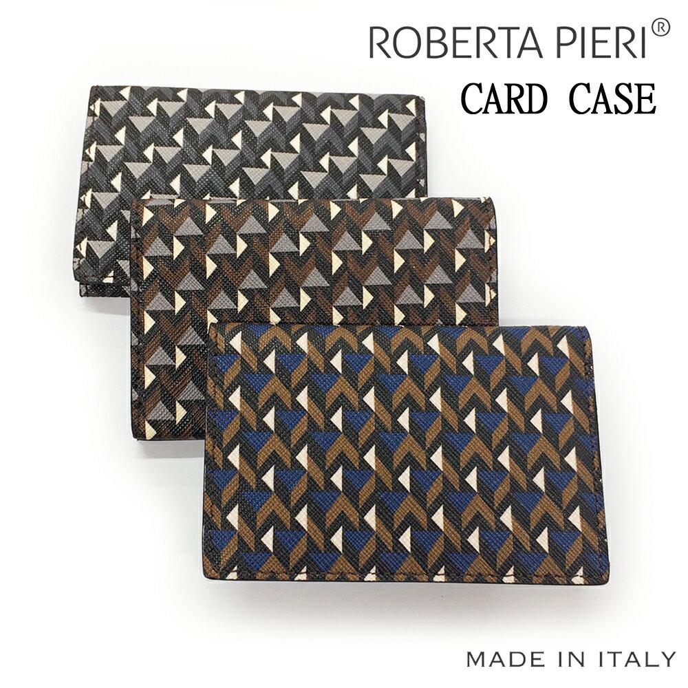 【ROBERTA PIERI ロベルタピエリ】イタリア製 名刺入れ カードケース コットンキャンバス(PVCコーティング)牛革 メンズ レディース 全3色【2017】【02P05Nov16】