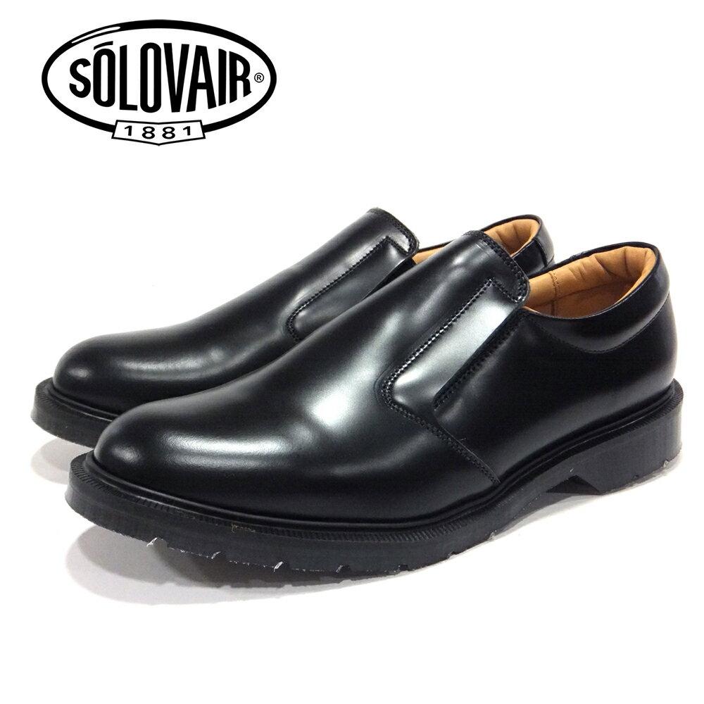 ポイント10倍【SOLOVAIR (ソロヴェアー/ソロベアー)】 スリッポンシューズ ブラック SLIPON BLACK メンズシューズ 革靴 カジュアル ビジネス 紳士靴