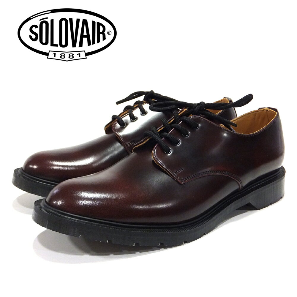 ポイント10倍【SOLOVAIR (ソロヴェアー/ソロベアー)】 プレーントゥシューズ バーガンディー 4EYE SHOE BURGUNDY メンズシューズ 革靴 カジュアル ビジネス 紳士靴