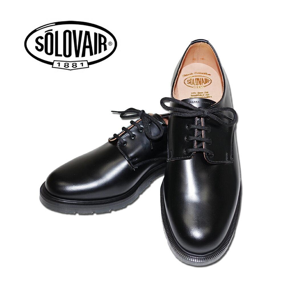 ポイント10倍【SOLOVAIR (ソロヴェアー/ソロベアー)】 プレーントゥシューズ ブラック 黒 4EYE SHOE BLACK メンズシューズ 革靴 カジュアル ビジネス 紳士靴