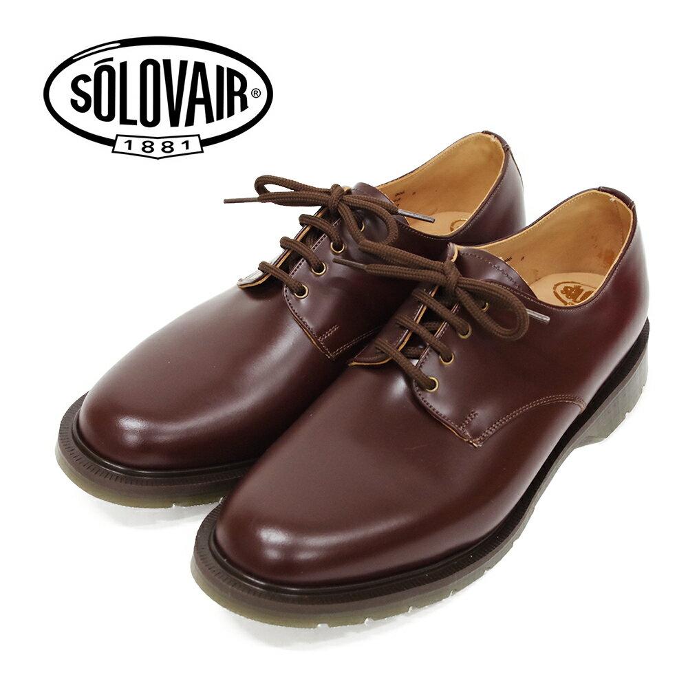 ポイント10倍【SOLOVAIR (ソロヴェアー/ソロベアー)】 プレーントゥシューズ ブラウン 4EYE SHOE BROWN メンズシューズ 革靴 カジュアル ビジネス 紳士靴