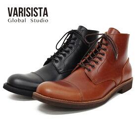 【VARISISTA Global Studi oヴァリジスタ グローバルスタジオ】レザーサイドジップワークブーツ (ZC10804) カジュアルシューズ メンズシューズ 軽量 紳士靴 革靴