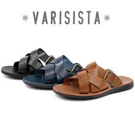 【VARISISTA Global Studio ヴァリジスタ グローバルスタジオ】イタリア製 レザーベルト クロスベルトサンダル (ZE4241) カジュアルシューズ メンズシューズ 紳士靴 本革 革靴【送料無料】