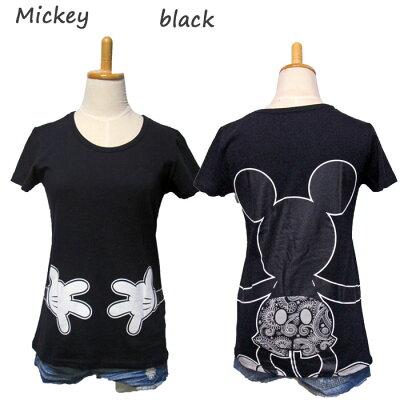 10P02Aug14ディズニープリントTシャツレディース(女性、婦人)用半袖Tシャツキャラクターミッキーミニー可愛い(カワイイ、かわいい)プリント夏物白レビューでメール便送料無料(おしゃれ夏服通販楽天)