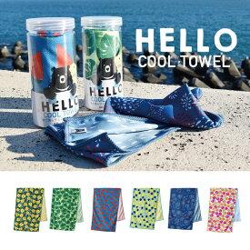 クールタオル HELLO BEAR 水で濡らすとひんやりするタオル COOL 冷感 6タイプ かわいい 屋外 アウトドア スポーツ 熱中症対策 UVカット カワイイ 柄 フェス タオル
