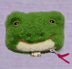 完全オリジナル ハンドメイド コインケース カエル かわいい 小銭入れ キーケース 作家手作り品 毛皮