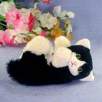 黒ネコファークラフト社製ぬいぐるみイヌネコクマテディベアギフト毛皮フォックスラムハンドメード