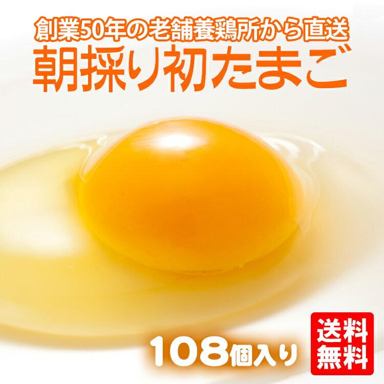 【たまご 卵 玉子 卵焼き たまごかけごはん】 朝採り 初 たまご 108個 (破損補償10個含む)【美味しい 卵 九州 送料無料 九州産 熊本産 新鮮 ブラックフライデー】