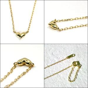 【送料無料】K18プランプハートネックレス◆ぷっくりと厚みのある横長ハートのネックレスは、とてもシンプルで小粒です【ラパポート】【楽ギフ_包装】