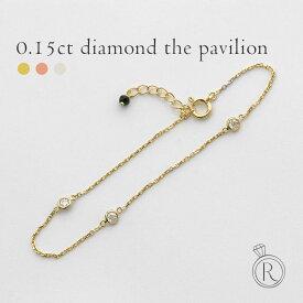 K18 ダイヤモンド ブレスレット 0.15ct The pavilion スリーストーン ステーション ブレスレット レディース ダイヤ ブレスレット ダイアモンド bracelet ゴールド 18k 18金 送料無料 代引不可 ラパポート