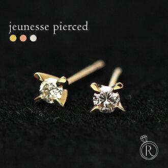 K18 新青年鑽石耳環 0.1 ct ◆ 起來好老釘子。 鑽石耳環鑽石 18 k 18 金黃金鑽石 05P20Nov15