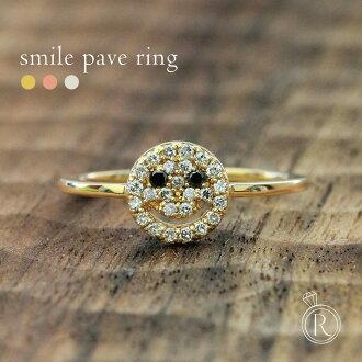 K18 微笑鋪平道路鑽石戒指 • 放置在鑽石潮濕 Niko 陳鑽石笑臉戒指鑽石戒指環 18 k 18 金黃金 05P20Nov15