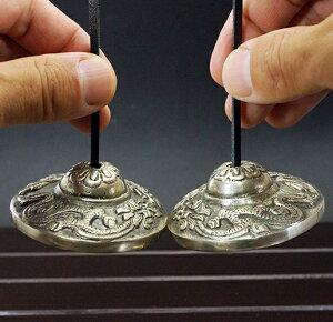チベット密教ティンシャ(チベタンシンバル)龍(ドラゴン)7メタル セブンメタル チベットシンバル チベット密教 楽器 瞑想 手作り【メール便対応】