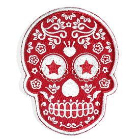 メキシコ シュガースカル(ドクロ)刺繍アイロンワッペン・アップリケ レッド(赤) メキシカンスカル カラベラ 死者の日【メール便対応可】