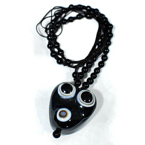 【一点物】チベット天眼石 邪視三眼 お守り ネックレス 長さ調整可能|天然石|パワーストーン|チベット密教【送料無料】