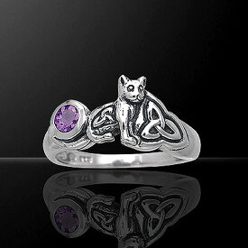 【PETER STONE】セルティック キャット アメジスト スターリングシルバー リング(指輪) 猫 ネコ ケルト模様 エンジェルウイング シルバー925【メール便対応可】