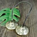 チベット密教 ティンシャ(チベタンシンバル) 六芒星(ダビデの星) ミニ|ヨガ|ソロモンの印|楽器|瞑想|手作り…