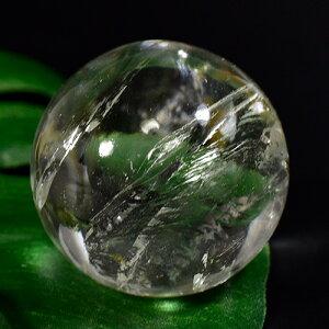 【一点物】ガネッシュヒマール産 ヒマラヤ水晶 彫刻 カービング ボール(玉) 虹あり(レインボーあり) 48g¬【送料無料】
