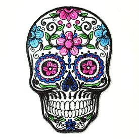 メキシコ シュガースカル(ドクロ)刺繍アイロンワッペン・アップリケ|メキシカンスカル|カラベラ|死者の日【メール便対応可】