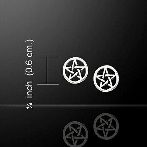 【PETER STONE】五芒星(ペンタグラム) スターリングシルバー ピアス|ソロモン王の鍵|魔よけ|護符|シルバー925|和柄【メール便対応可】