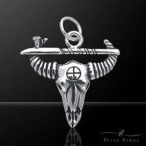 【PETER STONE】ネイティブアメリカン バッファロー スカル ヘッド スターリングシルバー ペンダントトップ ミニ|インディアン|シルバー925【メール便対応可】