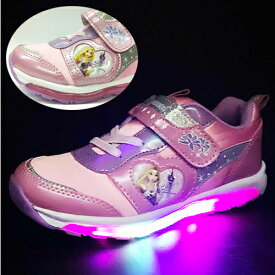 【 Disney ディズニー ラプンツェル 光る 靴 運動靴 7102 ピンク】 幼稚園 小学生 女の子 子ども 子供 こども キッズシューズ 子供靴 キャラクター靴 シューズ 女児 スニーカー 光る靴 安全 ラかわいい 点滅 フラッシュ 人気 プリンセス