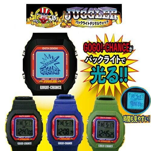 【北電子 JUGGLER ジャグラー バックライト デジタル ウォッチ 】時計 腕時計 デジタルウォッチ 光る GOGO ランプ  スロット パチンコ グッズ おもしろ雑貨 ジョーク プレゼント パチスロ パチスログッズ パチンコグッズ ピエロ
