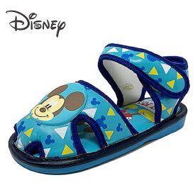 【Disney ミッキーマウス 笛付き ベビー サンダル ブルー 7592-01】 男の子 男児 子ども 子供 こども ベビーシューズ 靴 シューズ スニーカー 音が鳴る かわいい アグッズ 笛付 13cm 14cm 15cm ディズニー ミッキー ベルト マジックテープ
