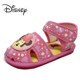 【Disney ミニーマウス 笛付き ベビー サンダル ピンク 7593-01】 女の子 女児 子ども 子供 こども ベビーシューズ 靴 シューズ スニーカー キャラクター かわいい アグッズ 笛付 13cm 14cm 15cm ディズニー ミニー ベルト マジックテープ