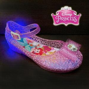 光る靴【 Disney プリンセス 光る ガラスの靴 ピンク 7618 15〜19cm 】フラッシュスニーカー ディズニー 女の子 子ども こども ビーチ グッズ 女児 バレエサンダル シューズ