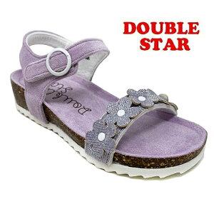 【DOUBLE STAR キッズ ジュニア ベンハー サンダル PP 3842-02】女の子 女児 子ども 子供 こども シューズ 靴 子供靴 キッズサンダル キッズシューズ ノンキャラ シンプル