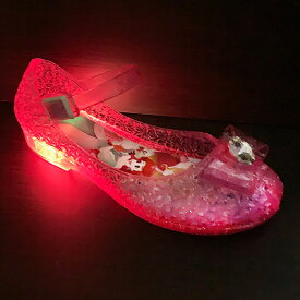 光る靴【 Disney プリンセス 光る ガラスの靴 ピンク 7618 15〜19cm 】フラッシュスニーカー ディズニー 女の子 子ども こども ビーチ グッズ 女児 バレエサンダル シューズ 靴 子ども靴 バレエシューズ サンダル パンプス キッズ 光る アリエル