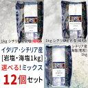 【選べるシチリア岩塩・海塩セット】シチリア産塩1kg×12個セット【送料無料】ドロゲリア