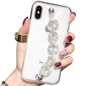 iPhone12 ケース iPhone se2 第二世代 iPhone11 ケース キラキラ iPhone11promax iPhone11pro ベルト付 クリア iPhoneXS max XR iPhoneX 透明 8 iPhone7 plus ラインストーン 韓国 かわいい チェーン おしゃれ スマホケース ゴージャス ZSGSFR